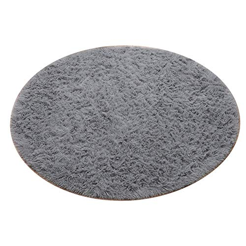 J&SKD Super Soft Round Shaggy Rugs, Bedroom Home Nursery Decor Yoga Mats, Circle Rugs for Bedroom Kids Girls Boys Baby Living Room,Gray,200cm