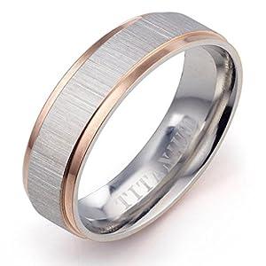 Gemini Damen-Ring Titan , Herren-Ring Titan , Freundschaftsringe , Hochzeitsringe , Eheringe, Bicolor, Breite 4mm Größe 48 - 66