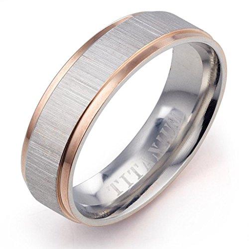 Gemini Damen-Ring Titan , Herren-Ring Titan , Freundschaftsringe , Hochzeitsringe , Eheringe, Bicolor, Breite 4mm Größe 54 (17.2)