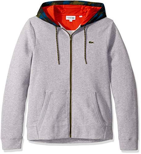 Lacoste Mens Sport Long Sleeve Full Zip Fleece Sweatshirt W/ Camo Hood Sweatshirt, Silver Heathered/Black/Illumination/Bush El/Geranium, L