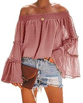 Beautife Womens Summer Off The Shoulder Shirts Casual Chiffon Long Bell Sleeve T Shirt Blouses