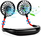Clickkart Hands Free Portable Neck Fan Rechargeable Mini USB Personal Fan Battery Operated with 3 Level Air Flow for Home Office Travel Indoor Outdoor(Multicolor)