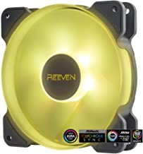 Reeven Kiran Sync 120mm RGB LED Fan, Quiet Case/CPU Cooler Fan Single Pack, Compatible with ASUS Aura Sync, 4-Pin/PWM 400-1500 RPM(RE1225FD15EW-R12P)