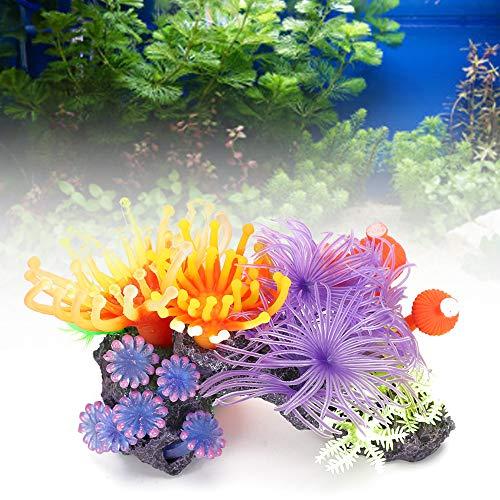 Eurobuy Aquarium Pflanzendekoration Aquarium Künstliche Koralle Lebendige Weichkorallen Ornament Simulation Glüheffekt Aquarium Dekor für Aquarium Aquarium