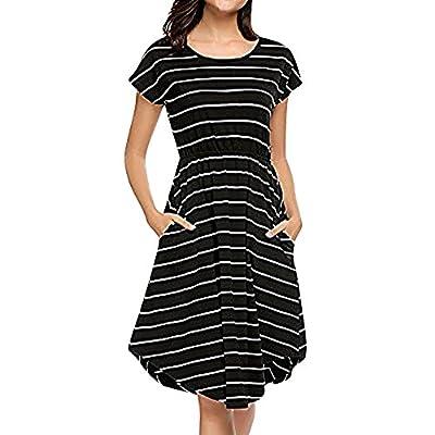Muranba Womens Dresses Casual Short Sleeve Elastic Waist Striped Dress with Pockets