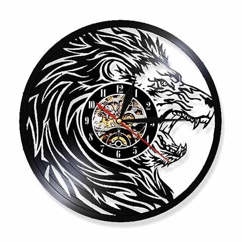 Usmnxo Animal Tesoro Animal Feroz león Vinilo fonógrafo Reloj de Pared Arte de Pared con lámpara 12 Pulgadas (30 cm)