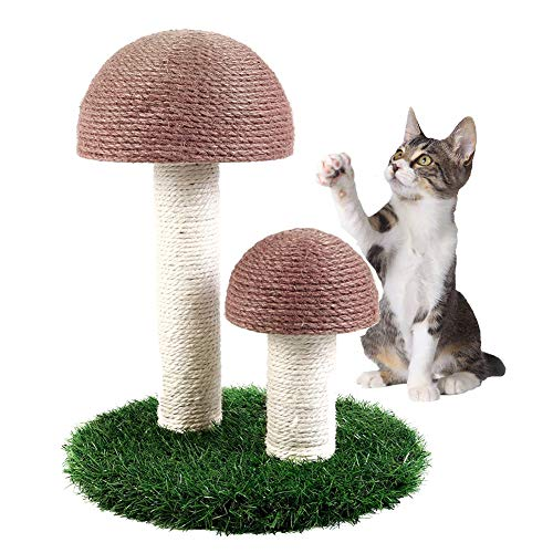 Suvuo Cat Scratching Post, Mushroom Scratching Post for Kittens & Cat, Natural Sisal Cat Scratchers for Indoor Cats (Brown)