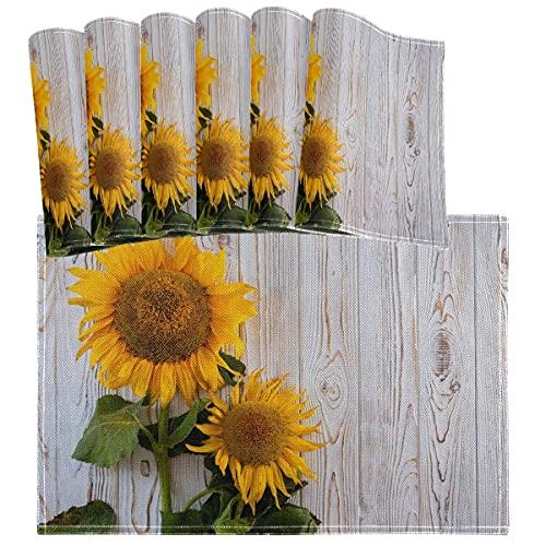 Juego de 6 manteles individuales de madera de girasoles rurales, resistentes al calor, lavables, para decoración de mesa de comedor