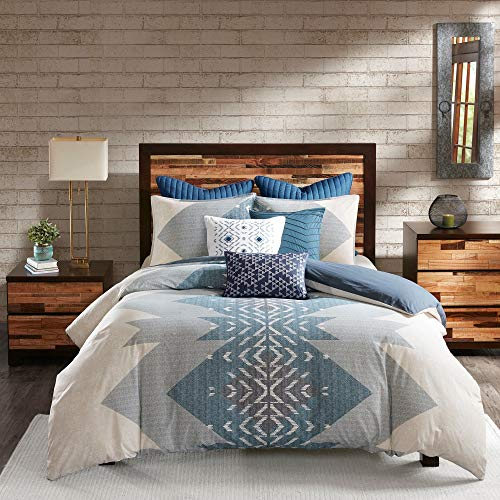 3 Piece Blue Southwestern Duvet Cover Full/Queen Southwest Bedding Set Native American Tribal Motif Themed Pattern, Cotton