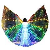 Q&N Luces LED Belly Dance Isis Wingscon Palos TelescópicosAlas Coloridas De La Danza del Ángel del Brillo del VientreStage Performance Props para Mujeres Niñas