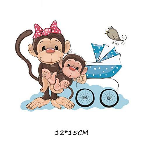 5×Parches de transferencia térmica Adecuado para chaquetas, camisetas, jeans, sombreros, ropa, estilo mono de madre e hijo de dibujos animados