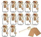 Amajoy 12 Pack Glass Favor Jar With Cork Lids Milk Glass Bottle Decorative Jars DIY Jar with Honey Dipper,Escort Card and Twine Wedding Favor Party Favor Honey Pot(3.4OZ,100ML)