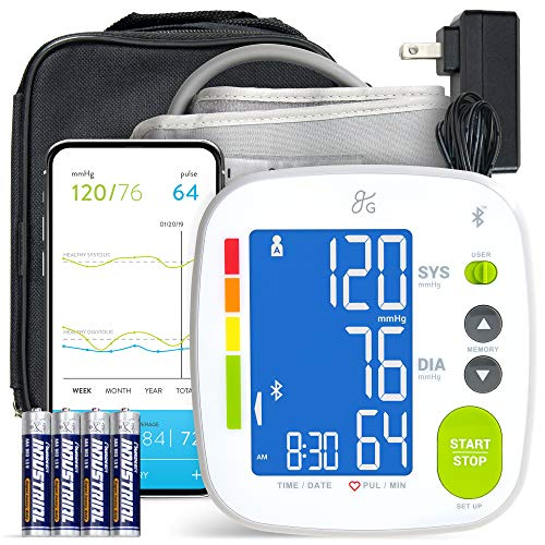 GreaterGoods Bluetooth Full Set Blood Pressure Monitor Cuff and Kit, Carrying Case, Batteries, Plug, Cuff, Monitor, Free iPhone Android app Included...