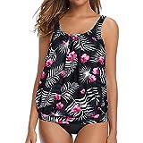 Bañador de Leopardo Dos Piezas para Mujer,Talla Grande Tankini Conjunto de Baño con Rayas Bikini Set Estampado Floral Traje con Estampado Correa Chaleco Cuello Redondo Cubrir el Vientre
