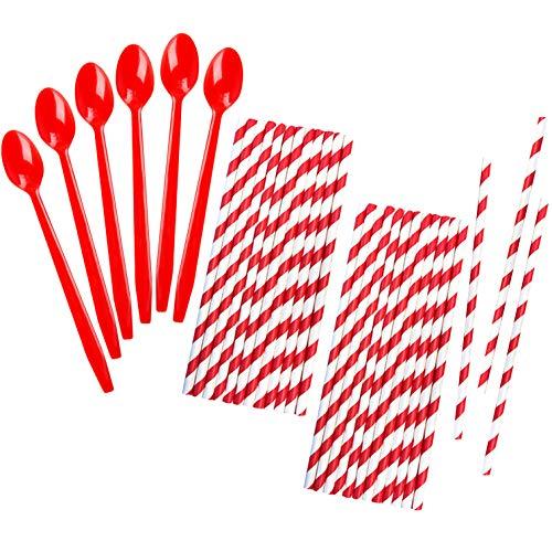 Red Plastic Sundae/Soda Spoons - 8 Inch - Red Paper Straws