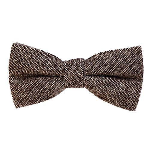 DonDon Herren Fliege 12 x 6 cm Baumwolle gebunden und längenverstellbar braun beige
