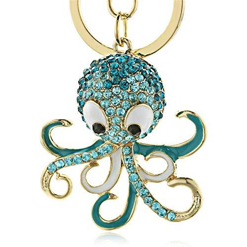 Neaer Llavero de pulpo, llavero de cristal con diseño de animales oceánicos, bolso de mano, colgante para coche y mujer, color azul