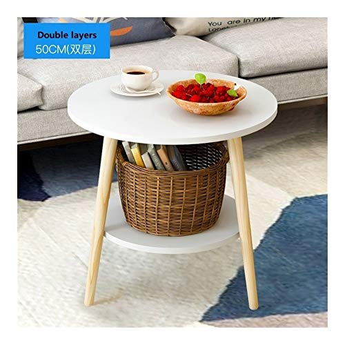 CharmingNight U-Best Tea Table End Table for Office Coffee Table Wooden Round Magazine Shelf Small Table Bedroom Living Room Furniture Creativity (Color : 50cm Double White)