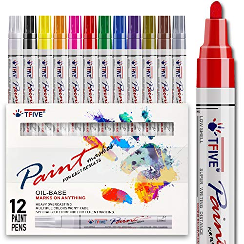Paint Pens Paint Markers Never Fade Quick Dry and Permanent,12 Color Oil-Based Waterproof Paint Marker Pen Set for Rock Painting, Stone, Ceramic, Wood, Fabric, Plastic, Canvas, Glass, Mugs, DIY Craft