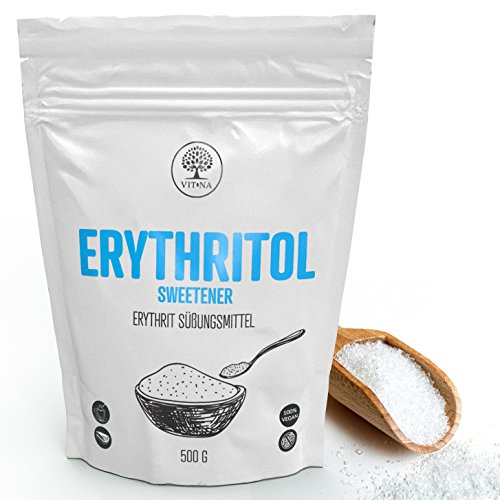 Vitna - edulcorante de eritritol, 500 g, 100% vegano, índice glucémico ~ 0 recomendado para diabéticos, reemplazo saludable para azúcar blanco