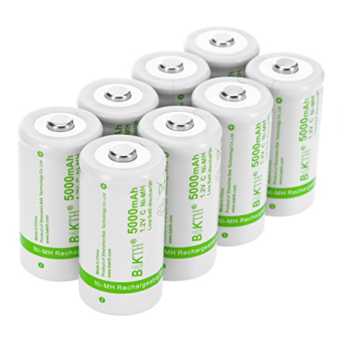 BAKTH Upgraded 5000mAh C Size High Performance NiMH Pre-Charged Low Self-Discharge Rechargeable Batteries for Household Devices (8 Pack)
