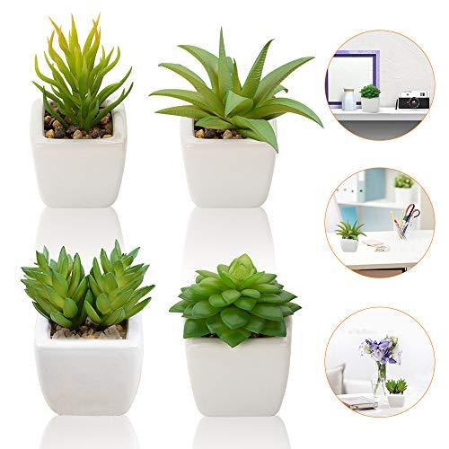 Künstliche Sukkulenten Pflanzen, 4 Stück Kleinen Mini Kunstpflanzen / Topfpflanze/ Kunststoffpflanzen mit Topf, Deko Fälschung Sukkulenten Ideal für Zuhause Tisch Haus Balkon Büro Dekoration Zubehör