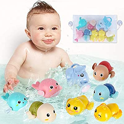 FAYOGOO Baby Bath Toys for Toddler 1-3 Baby Boy Girls Birthday Gifts Mold Free Wind-up Swim Pool Bath Toys for Kids Ages 4-8 Bathtub Toys for 3-4 Years Infants 6-12 Months with Storage Bag, 8pcs Set by FAYOGOO