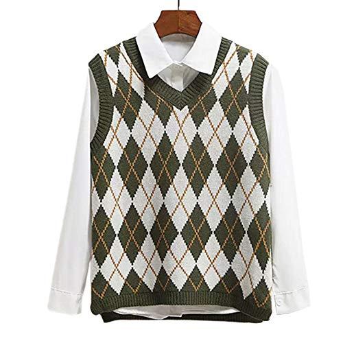 Lailezou Women's V Neck Knit Sweater Vest Argyle Plaid Preppy Style Sleeveless Crop Knitwear Tank Green