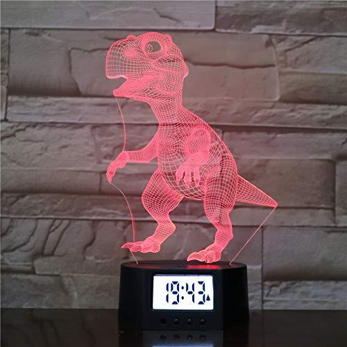 Dinosaurier 3D Nachtlicht, Bunte Steigung Tyrannosaurus Kleine Tischlampe Wecker Basis Kinderzimmer...