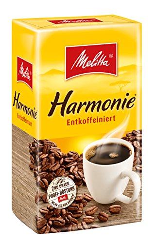 Melitta Gemahlener Röstkaffee, Filterkaffee, entkoffeiniert, vollmundiges, besonders sanftes Aroma, Harmonie entkoffeiniert, 500 g