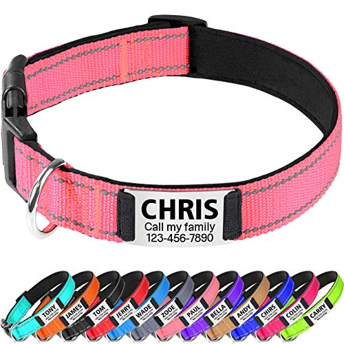 TagME Hundehalsband Mittel Hunde,Reflektieren Hunde Halsband mit Name und Telefonnummer,Baby Pink M