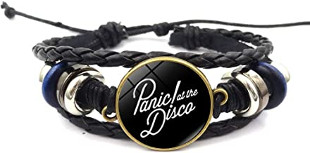 Panic! at The Disco Band Logo Beaded Hand Woven Leather Bracelet Braided Punk Chain Cuff