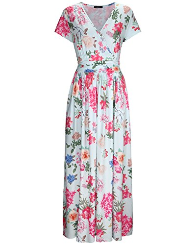 OUGES Women's V-Neck Pattern Pocket Maxi Long Dress(Floral-5,L)