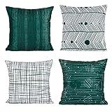 FabThing 4 Pcs Housse de Coussin Coton Taie d'oreiller Decorative Super Doux Maison Salon Chambre pour Canapé 45x45cm Vert Foncé
