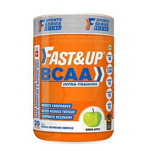 Fast&Up BCAA (30 Servings, Green Apple Flavour) Advanced BCAA Supplement with Glutamine, Citrulline, L-Arginine & Taurine For Muscle Recovery & Endurance - Pre/Post Workout & Intra Workout Supplement (450g)