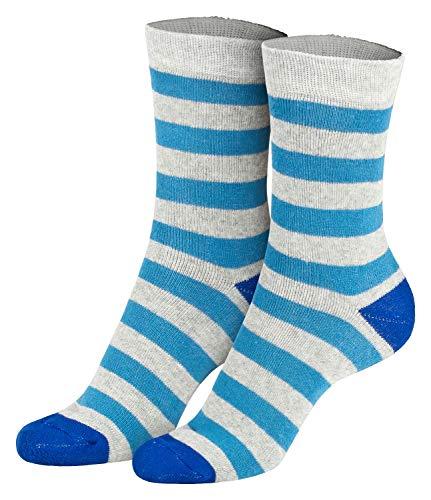 Piarini 2 Paar Kindersocken geringelt bunt Vollfrottee Jungen Mädchen Weiche Kinderstrümpfe Kids Boys Girls Socks blau grau 27 28 29 30