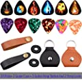 Guitar Picks Holder Case Guitar Strap Locks and Button,Picks 20 Pack Includes Light/Medium/Heavy