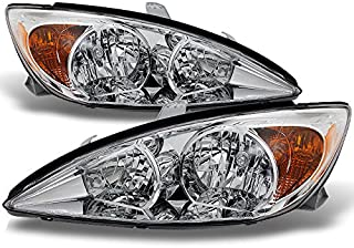 For Toyota Camry LE SE XLE Chrome Clear Headlights Front Lamps Replacement Left + Right Pair set