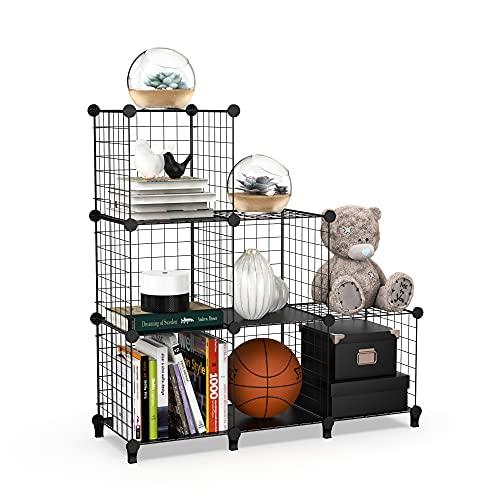 6 würfelförmige Draht-Ablagen, DIY Kleiderschrank, Schrank, Bücherregal, platzsparendes Metallgitter, Aufbewahrungsregal für Büro und Schule