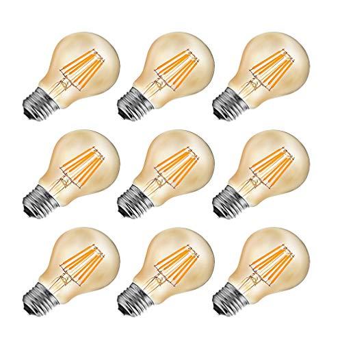MENTA LED Lampadina Vintage Edison E27 6W equivalenti a 60W 600LM Bianco Caldo 2700K A60 Lampadine Decorativo per Casa, Ristorante, Bar, Caffe Non dimmerabile - 9 Pezzi