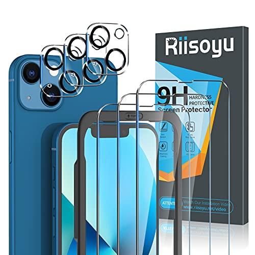 Riisoyu 6 Piezas Protector Pantalla Compatible con iPhone 13 6.1 Pulgada, 3 Piezas Protector de Lente de Cámara y 3 Piezas Cristal Templado con Marco de Alineación 9H Dureza Vidrio Templado HD