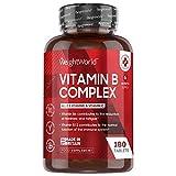 Vitamine B Complex - 180 Comprimés (6 mois) Extra Fort | Complexe de Vitamine B1, B2, B3, B5, B6, B7 Biotine, B9, B12, C - 8 Vitamines B Végétarienne – Complément Alimentaire Fabriqué en EU