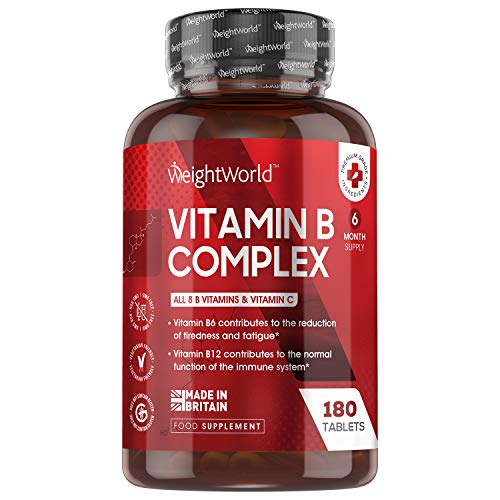 Vitamin B Complex High Strength with Vitamin C - 180 Tablets (6 Month Supply) Vitamin C Complex Supplement, 8 B Vitamins Per Tablet (Vitamin B1, B2, B3, B5, B6, B7 B9 & B12) - Vegetarian - Made in UK