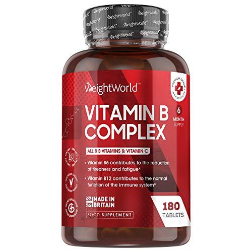 Vitamina B Complex 180 Comprimidos Alta Concentración Vitaminas del Grupo B Vegano - Complejo Vitamínico B Enriquecido con Vitamina C, Biotina, Ácido Fólico B1, B2, B3, B5, B6 y B12, Sin Aditivos