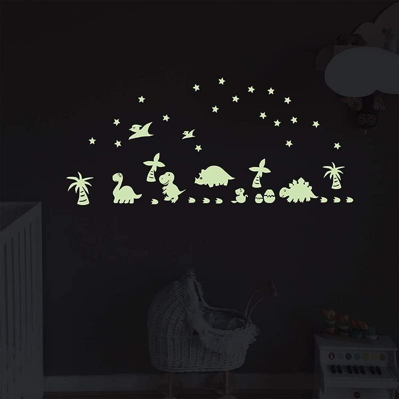 Glow In The Dark Dinosaurs Wall Decal Moon Stars Luminous Stickers Murals For Kids Boys Girls Nursery Bedroom DIY Mural Decoration