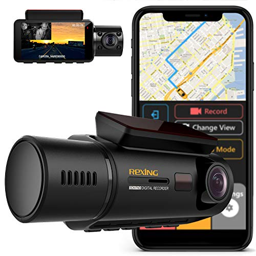 Rexing V3 Dual Camera Front and Inside Cabin Infrared Night Vision Full HD 1080p WiFi Car Taxi Dash Cam with Built-in GPS, Supercapacitor, LCD Screen, Parking Monitor, Mobile App