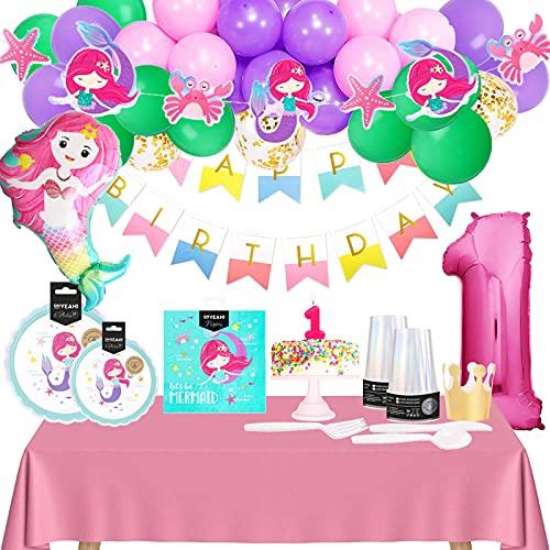 Decoración Cumpleaños Niña 1 año - Pack Cumpleaños Infantil de Sirena Para Primer Cumpleaños Niña
