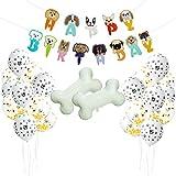 Hunde Geburtstag Deko, Comius Hund Geburtstag Set, Pfotenabdrücken Latexballons mit Dog Shape Happy Birthday Banner und Knochenform-Aluminiumballon für Hundegeburtstage