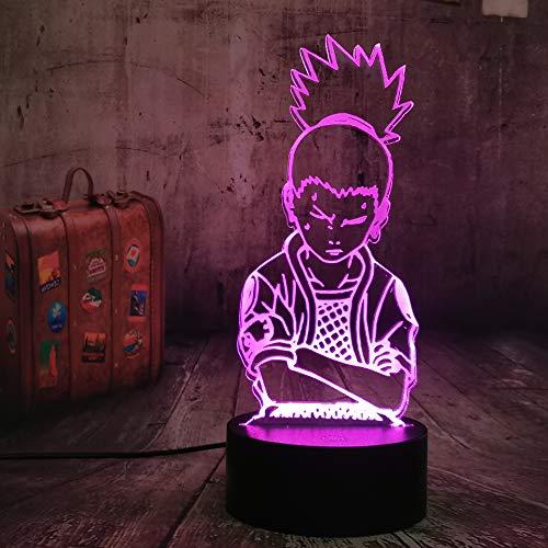 Anime Nara Shikamaru Naruto Lámpara 3D LED Luz nocturna 7 Colores Touch Table Escritorio Luz de Lava, Lámpara Acrílico Illusion Espacio Iluminación Ambiente Regalo de cumpleaños para fans