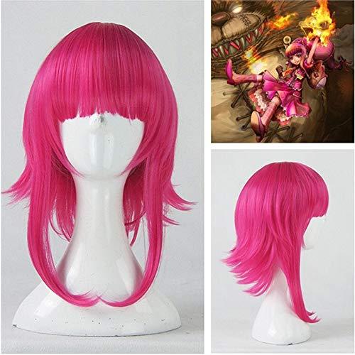 Juego LOL Annie Hastur Personaje 45cm Rosa Rojo Resistente al calor Cabello Cosplay Disfraz Peluca + Gorra de peluca gratis